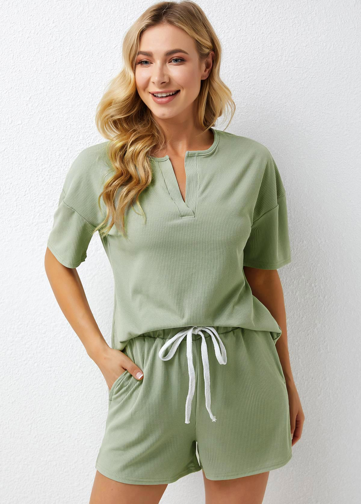 Split Neck Drawstring Waist Half Sleeve Loungewear Set