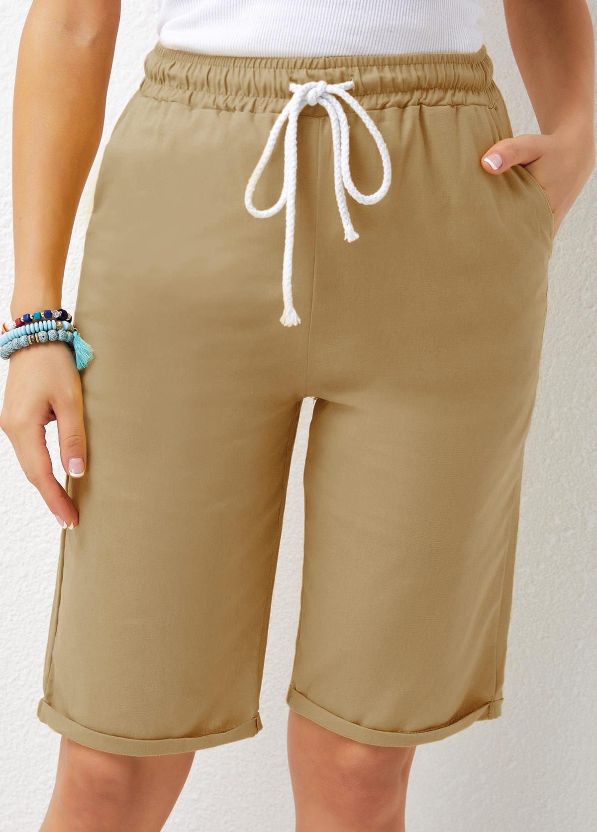 Solid Drawstring Waist Pocket Detail Shorts