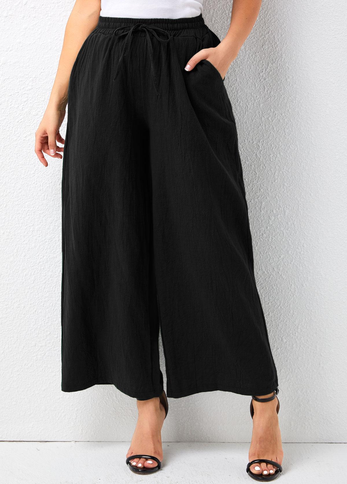 Mid Waist Drawstring Design Loose Pants