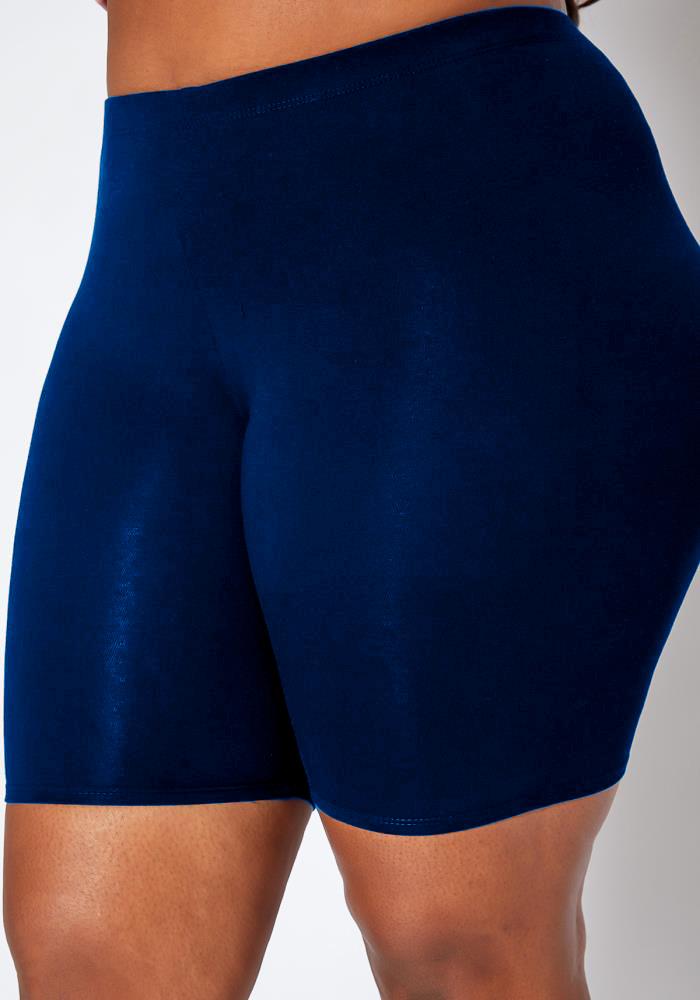 ROTITA Skinny Solid Plus Size High Waist Swim Shorts