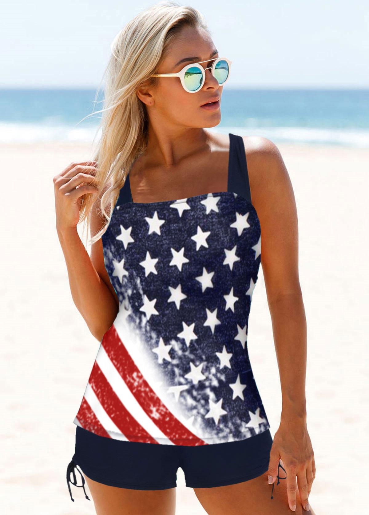Tie Side American Flag Print Tankini Set