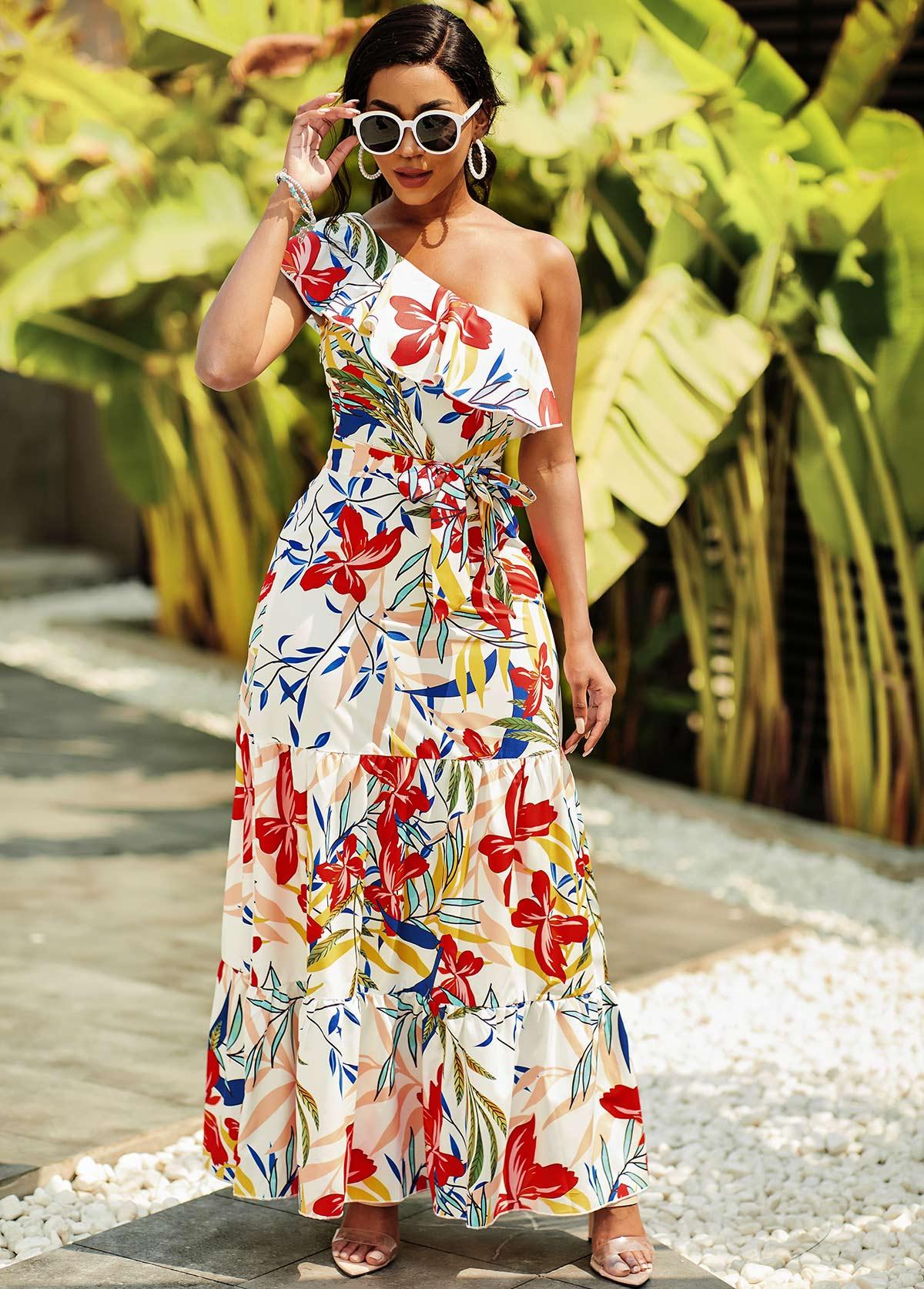 One Shoulder Floral Print Flounce Dress