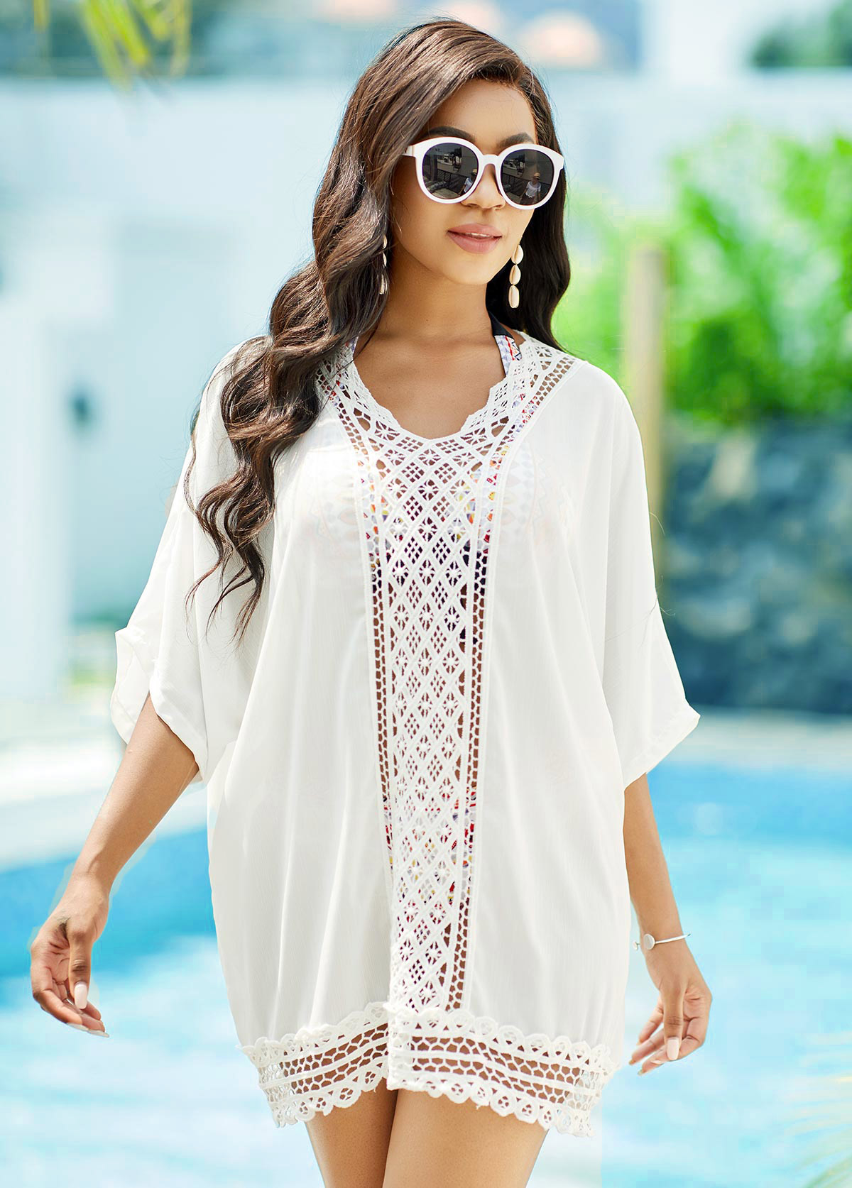 3/4 Sleeve Lace Stitching Solid Cover Up