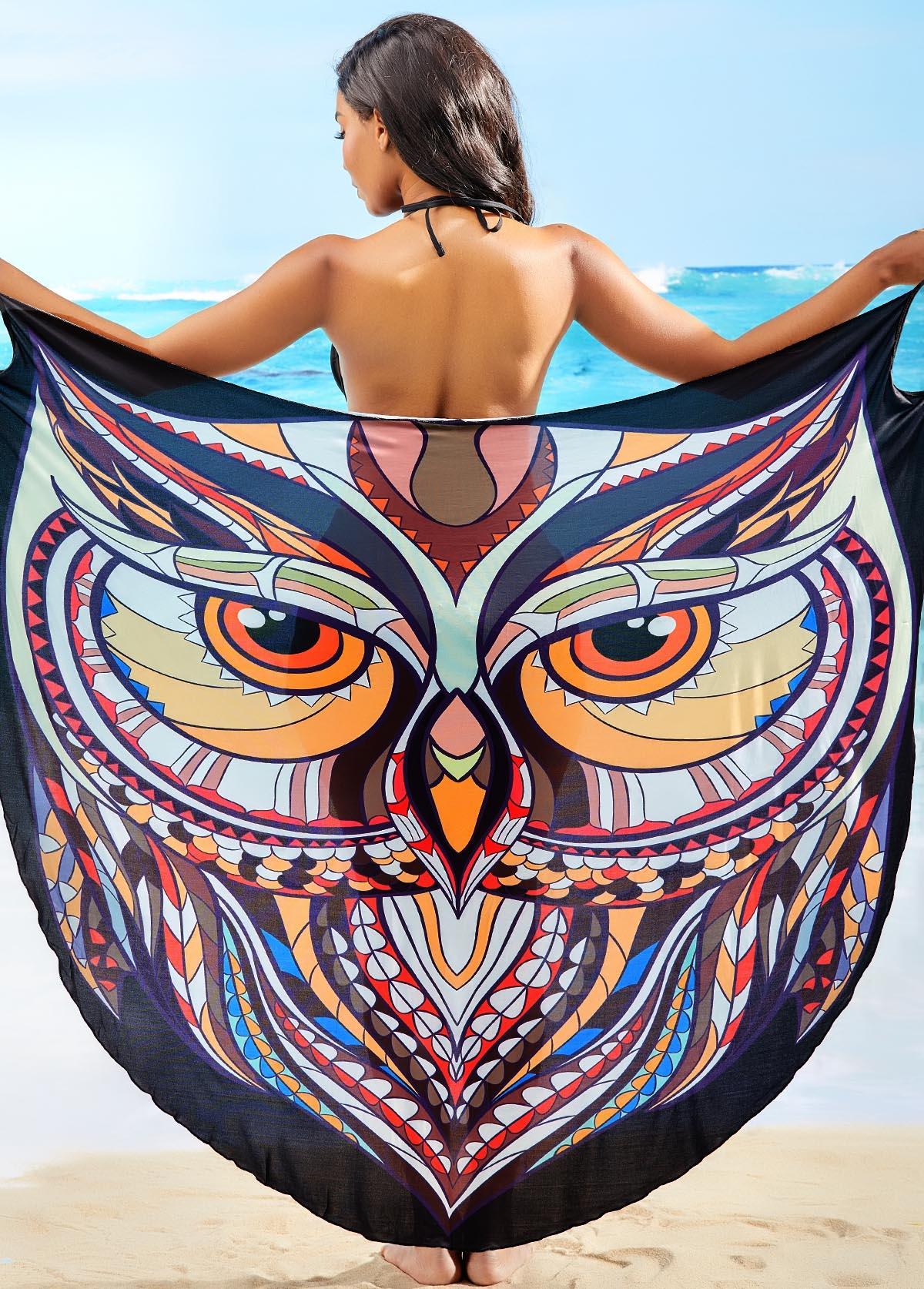 Crossover Hem Spaghetti Strap Owl Print Cover Up