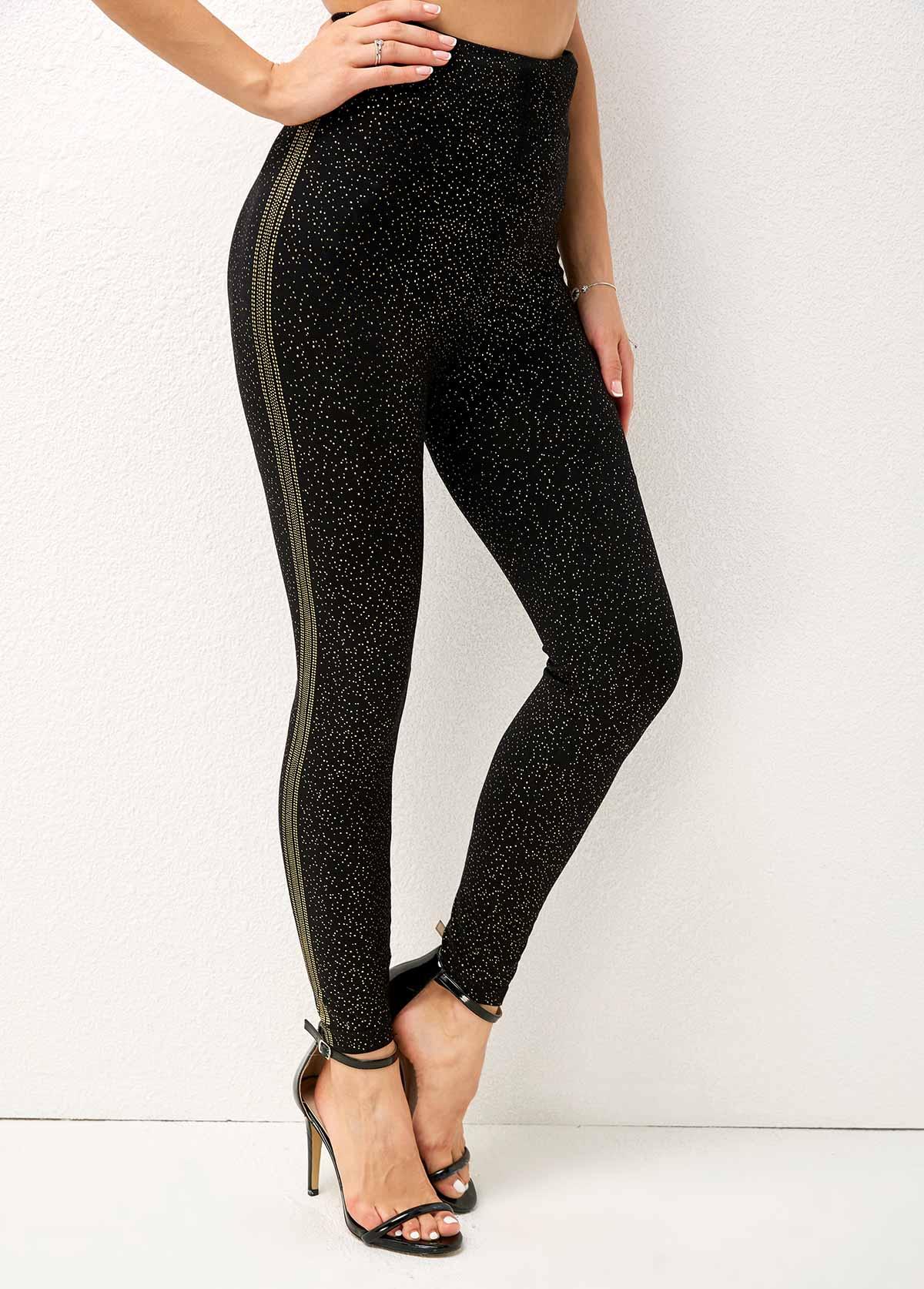 Hot Stamping Dot High Waist Skinny Pants