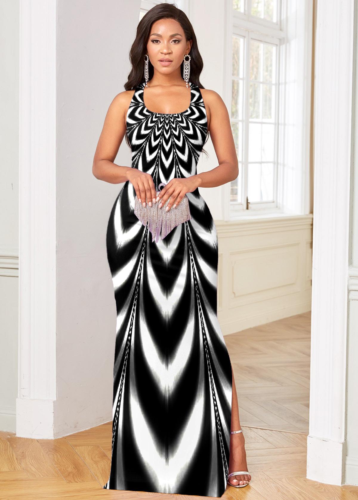ROTITA Side Slit Ombre Sleeveless Maxi Dress
