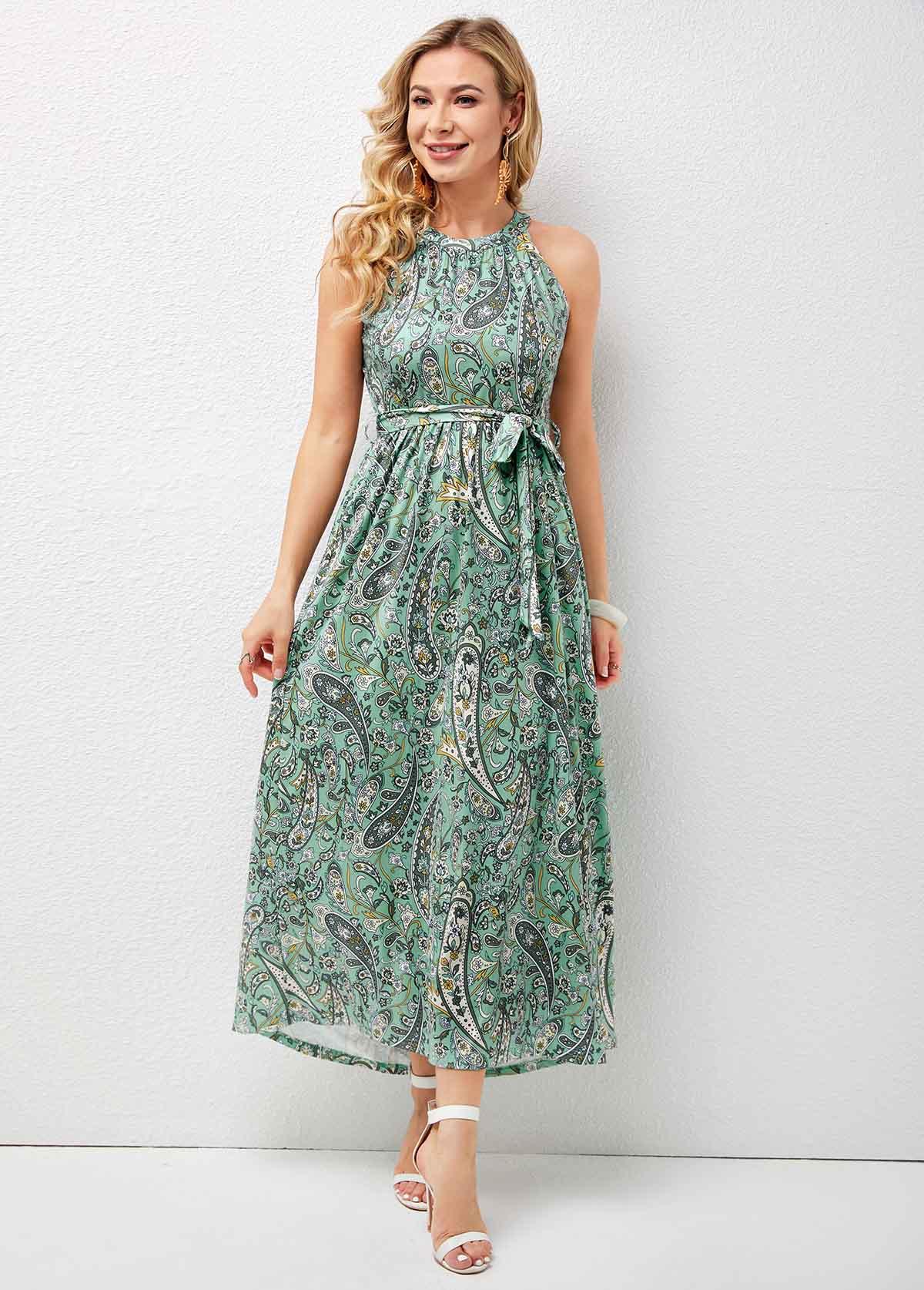 Bib Neck Paisley Print Belted Maxi Dress