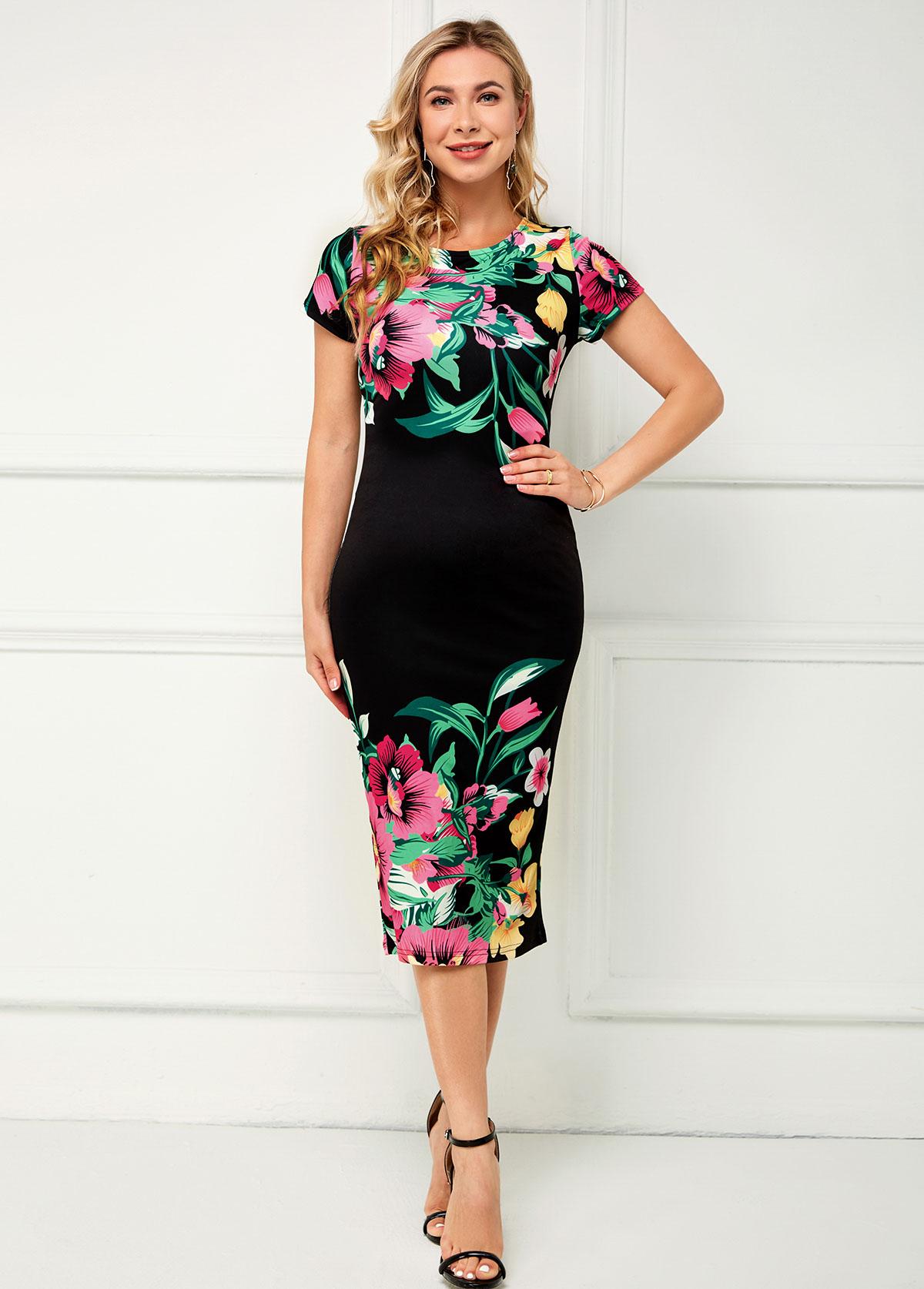 Short Sleeve Floral Print Round Neck Dress