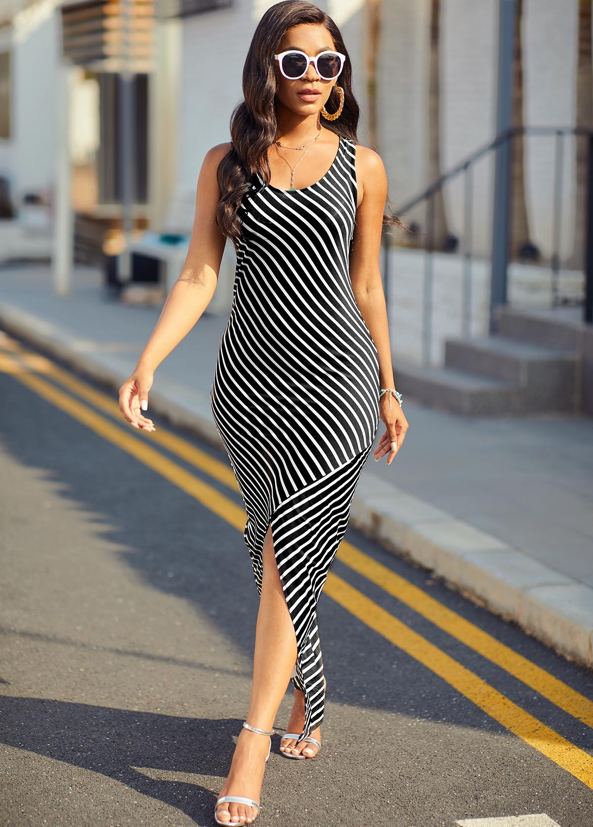 Striped Asymmetric Hem Wide Strap Dress