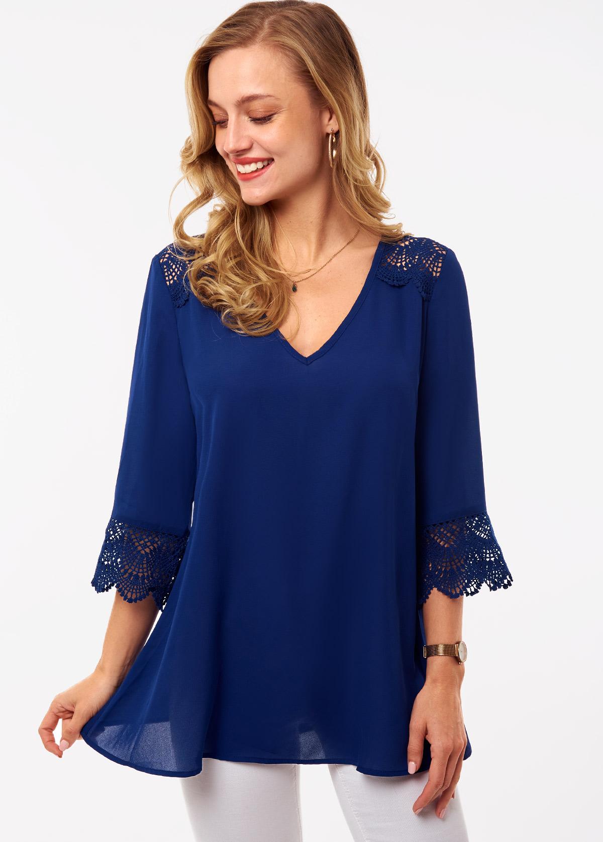 ROTITA Lace Stitching V Neck 3/4 Sleeve Blouse