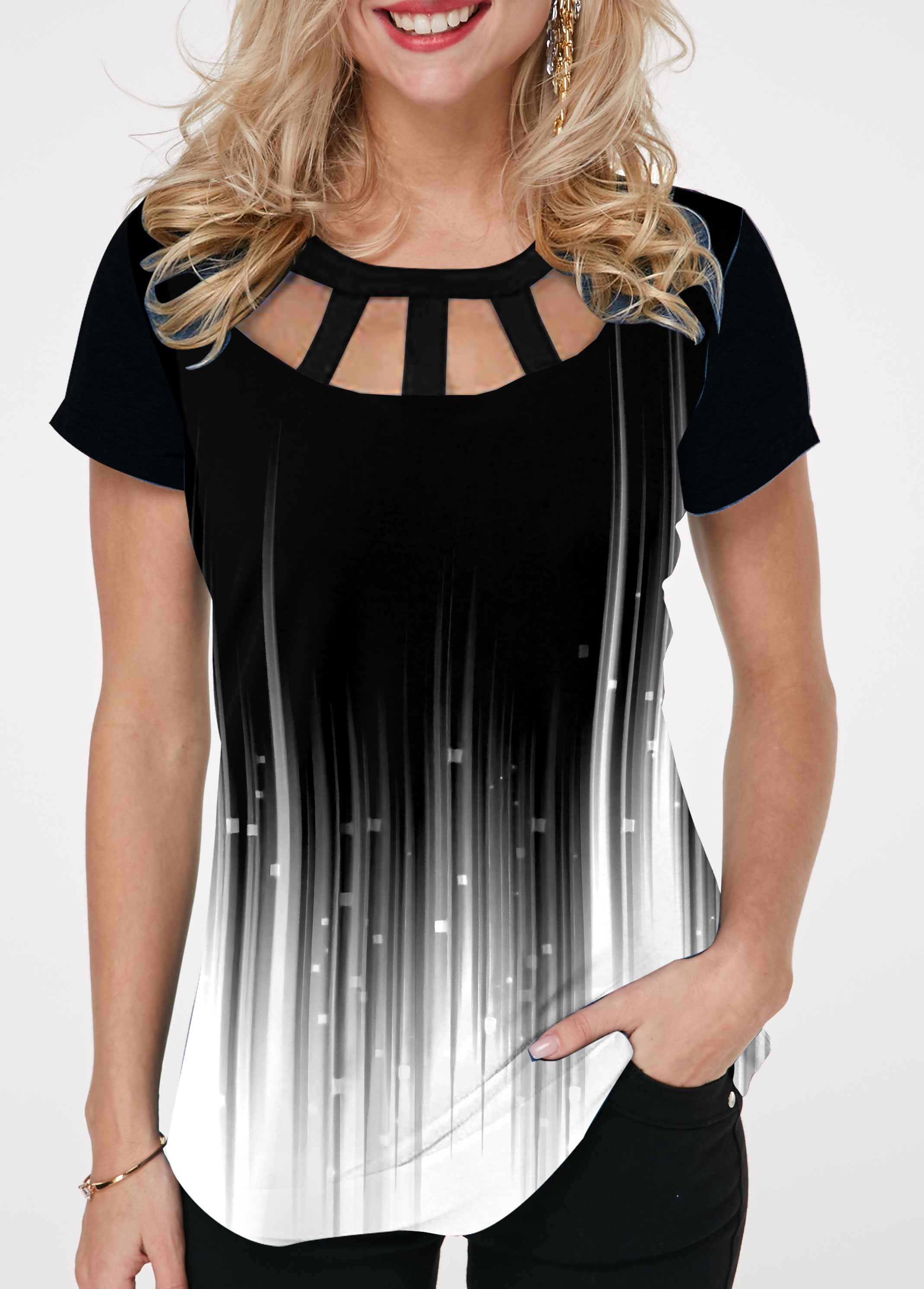 ROTITA Short Sleeve Ombre Cage Neck T Shirt
