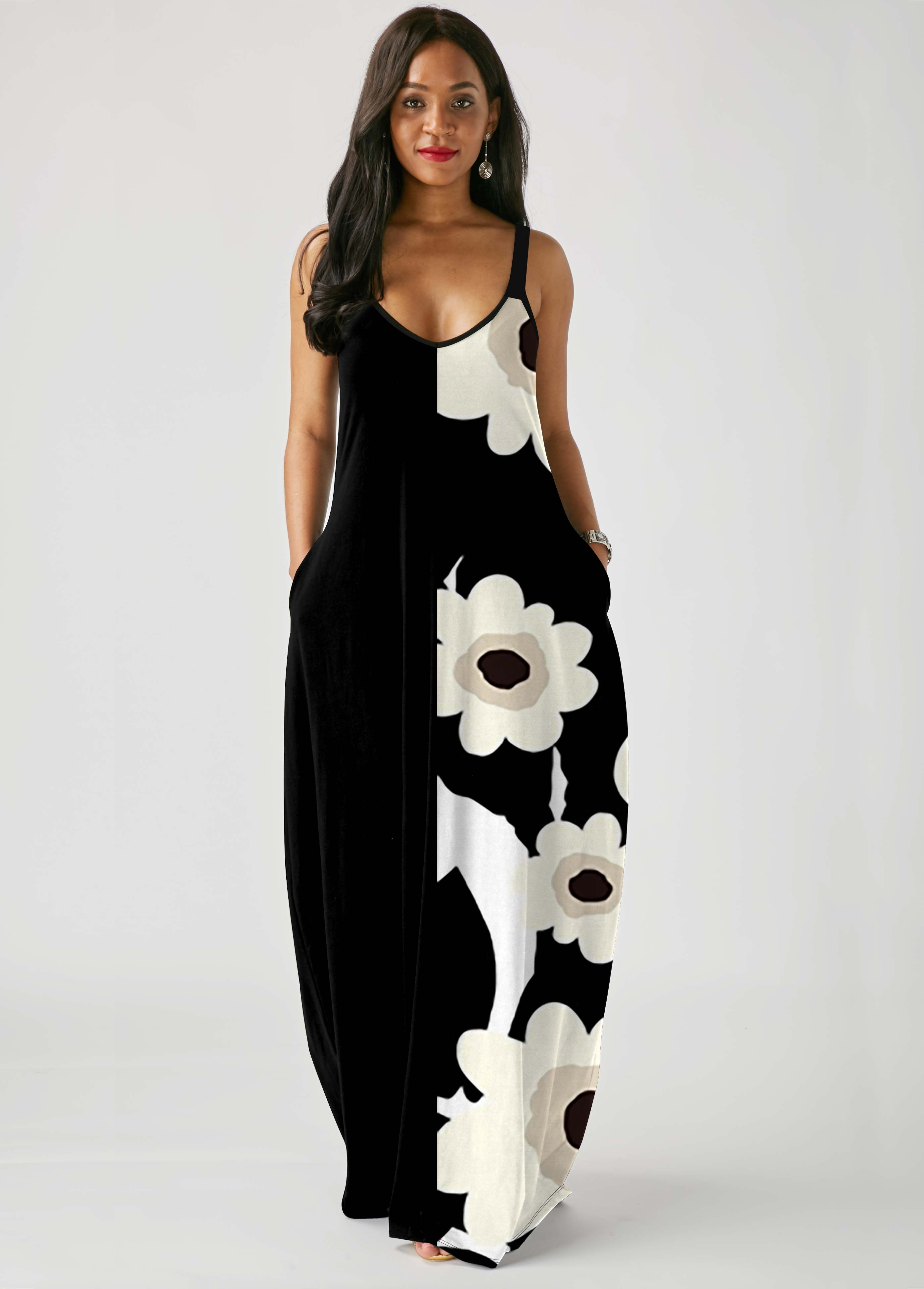 ROTITA Spaghetti Strap Floral Print Pocket Dress