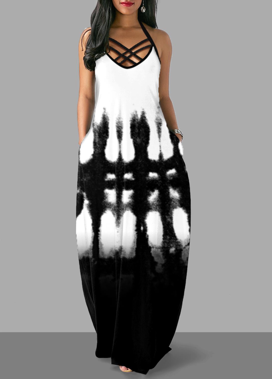 ROTITA Cross Strap Tie Dye Print Pocket Dress