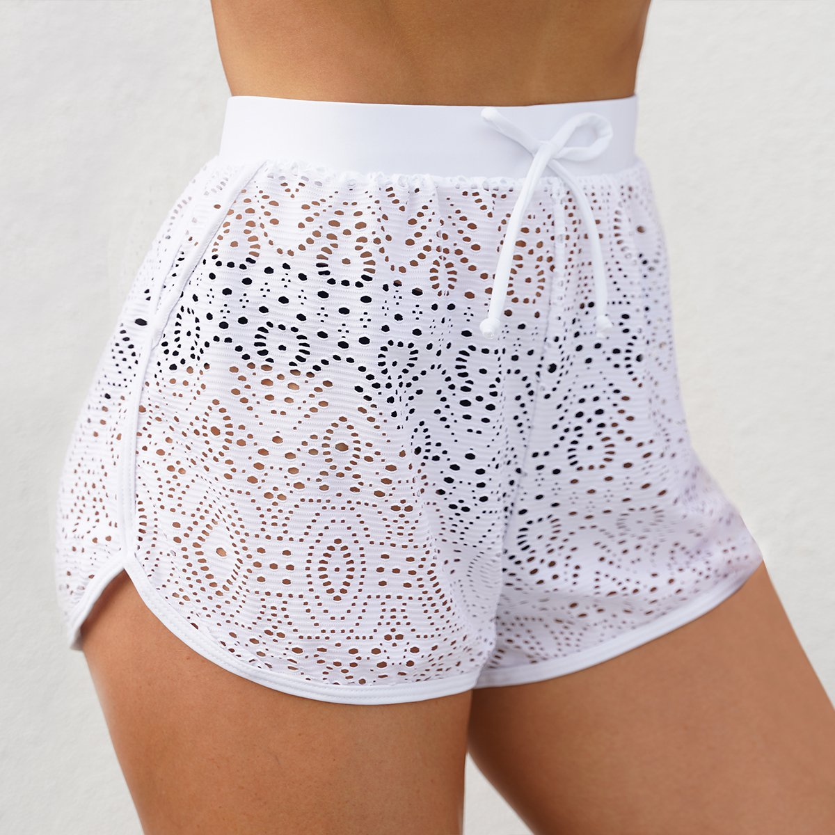 Pierced White High Waist Swimwear Shorts