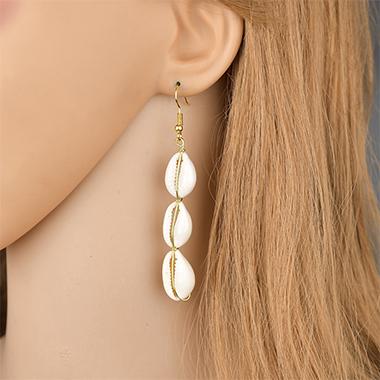 Retro Shell Design Gold Earring Set