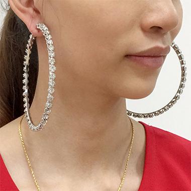 Circular Design Rhinestone Detail Earring Set