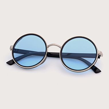 1 Pair Round Frame Blue TR and Metal Sunglasses