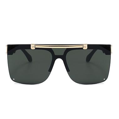 1 Pair Square Metal Detail Black Sunglasses