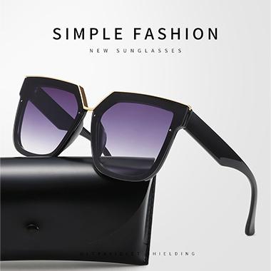 1 Pair Square Frame Metal Detail Sunglasses