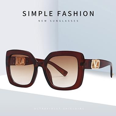 1 Pair Square Frame Wine Red Sunglasses
