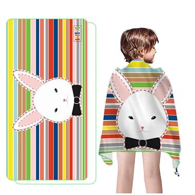 Rectangle Stripe and Rabbit Print Beach Blanket