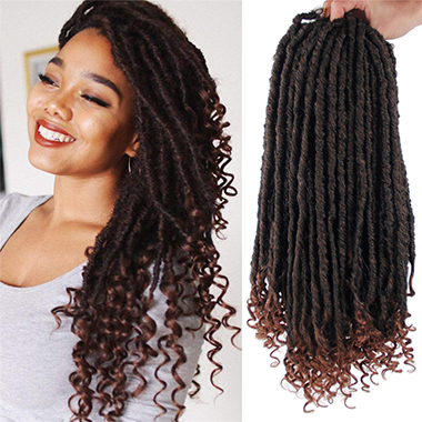 Curly Crochet Brown Long Wig for Women