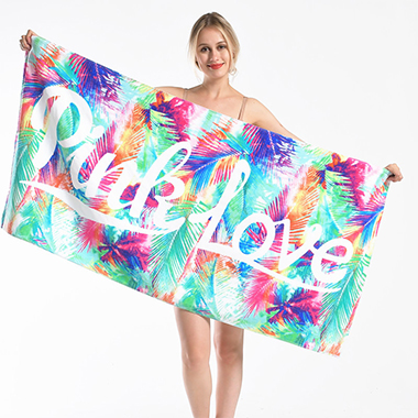 Rectangle Letter and Tie Dye Print Beach Blanket