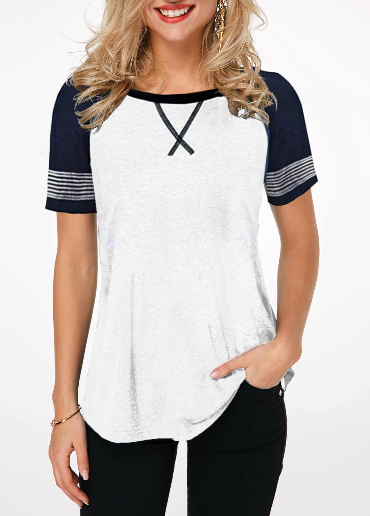 Round Neck Contrast Short Sleeve T Shirt