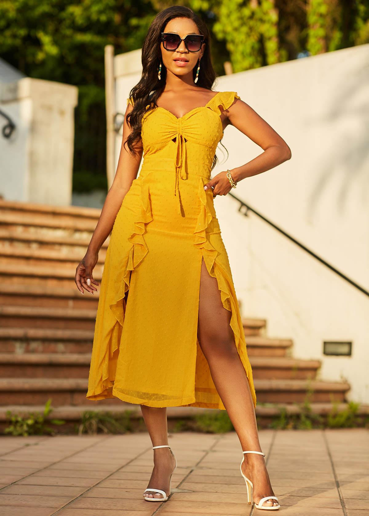 ROTITA Flounce Double Slit Tie Front Dress