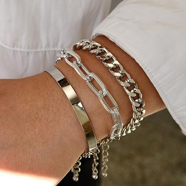 Metal Detail Punk Gold Chain Design Bracelet Set