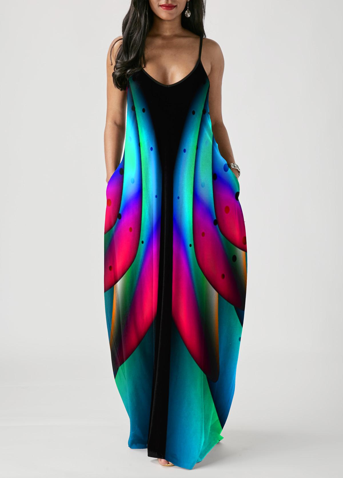 ROTITA Spaghetti Strap Colorful Printed Pocket Dress