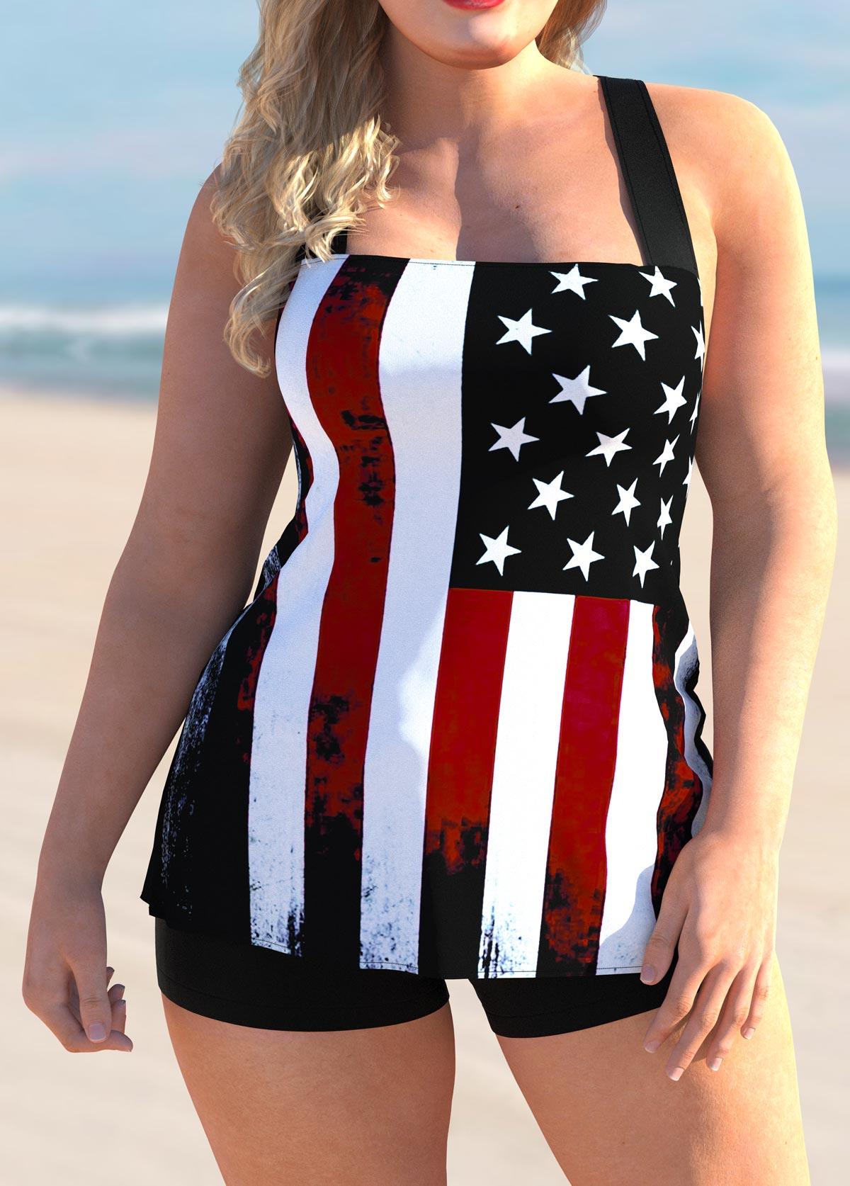 ROTITA American Flag Print Plus Size Tankini Set