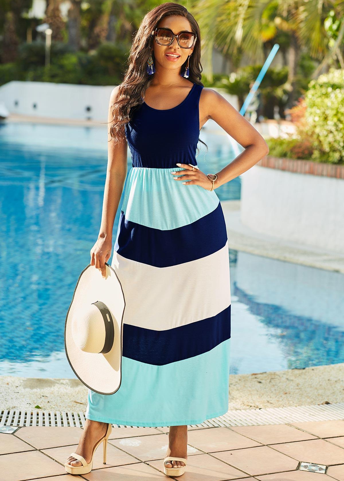 Contrast Wide Strap Round Neck Maxi Dress