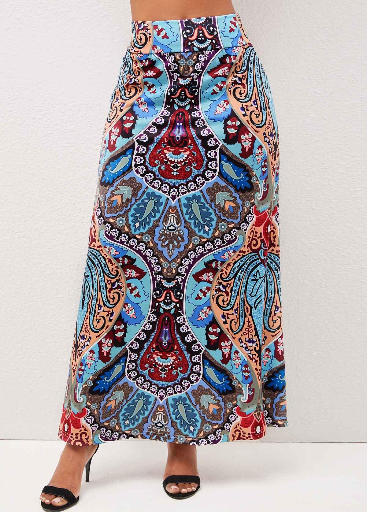 High Waist Tribal Print Multi Color Skirt