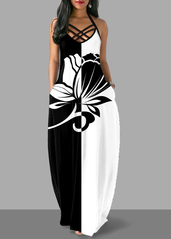 ROTITA Criss Cross Back Floral Print Halter Dress