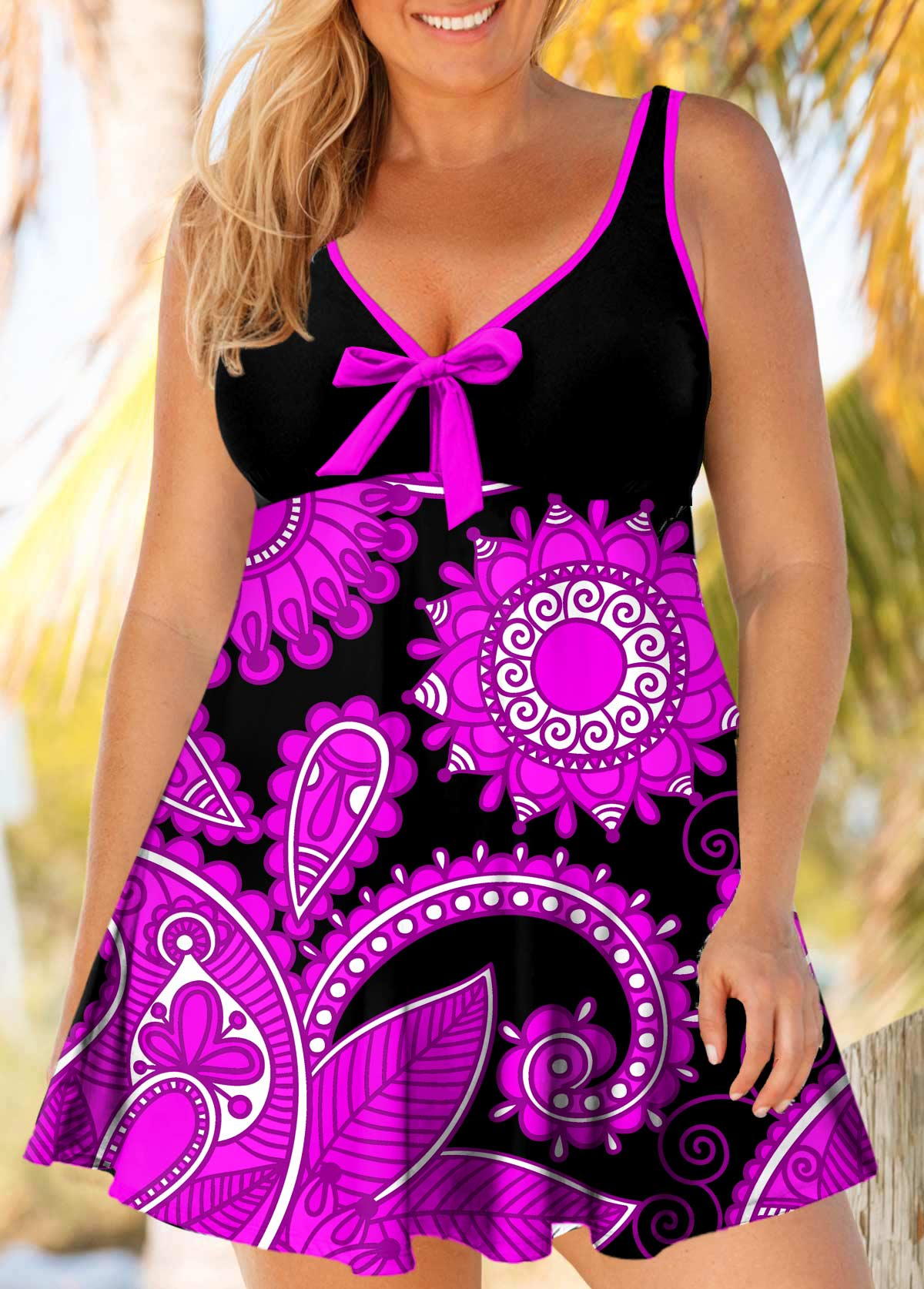 ROTITA Bowknot Plus Size Paisley Print Swimdress and Panty