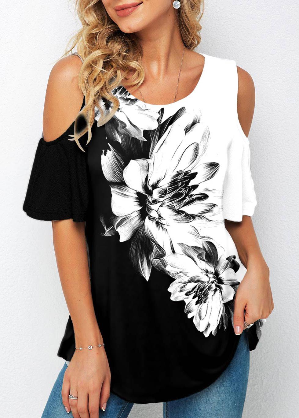 ROTITA Cold Shoulder Floral Print Half Sleeve T Shirt