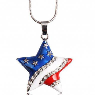 Star Design American Flag Detail Rhinestone Necklace