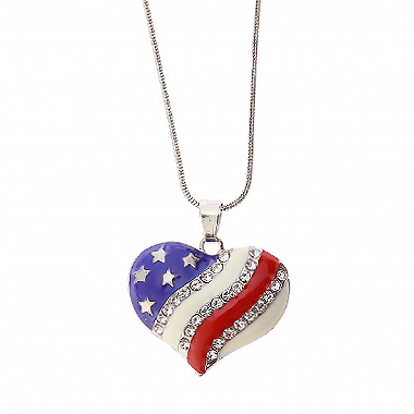 Heart Design American Flag Detail Rhinestone Necklace