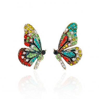 Butterfly Design Rhinestone Detail Earring Set