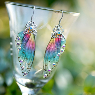 Butterfly Wings Design Rainbow Color Earring Set