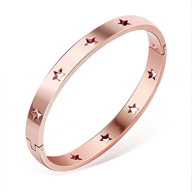 Hollow Out Star Design Pink Bangle