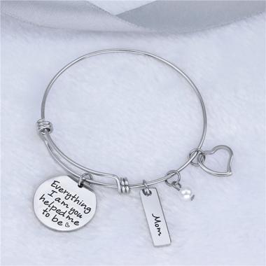 Letter Detail Heart Design Silver Bracelet