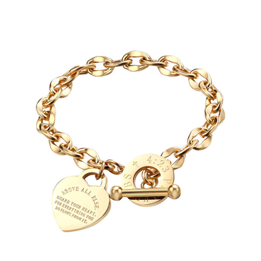 Letter Detail Curb Chain Design Gold Bracelet