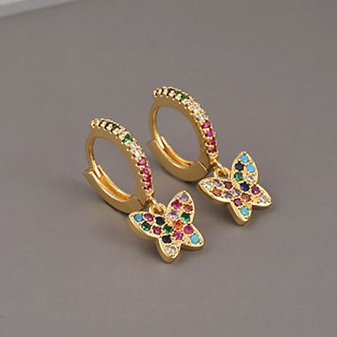 Butterfly Pattern Rhinestone Gold Earring Set