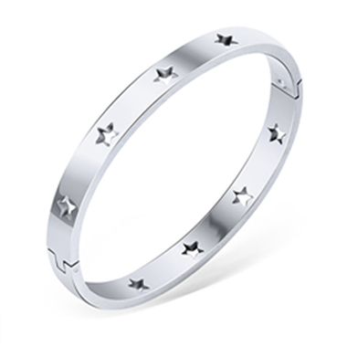 Pierced Silver Metal Star Design Bangle