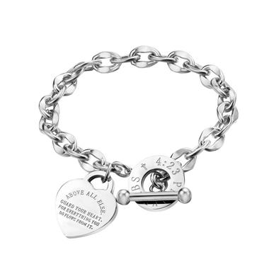 Letter Detail Curb Chain Design Silver Bracelet
