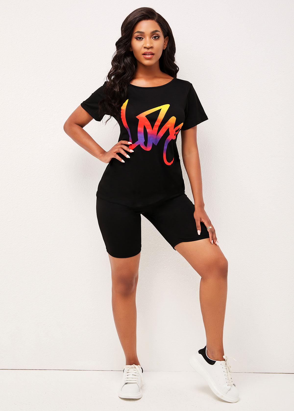 Printed Black Round Neck T Shirt and Pants