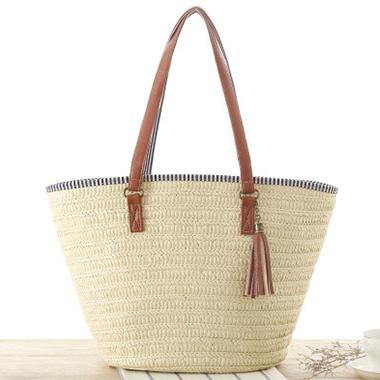 Tassel Detail Weave Design Storage Bag