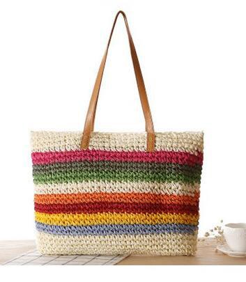 Rainbow Color Weave Design Storage Bag